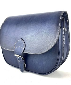 Lovecká kožená taška ručne tieňovaná s vyťahovacím zámkom, tmavo modrá