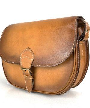 Lovecká kožená taška ručne tieňovaná s vyťahovacím zámkom, tmavo žltá
