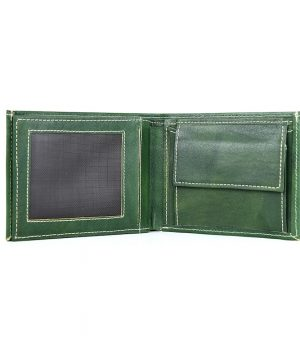 Kožená peňaženka z pravej kože č.8407 v tmavo zelenej farbe, ručne tamponovaná,