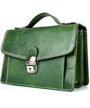 Luxusná kožená etua č.7847, ručne tamponovaná, zelená,, - kópia