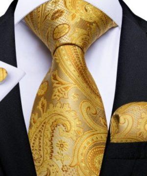 Luxusná pánska zlatá sada - kravata + manžetové gombíky + vreckovka