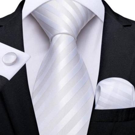Pánska kravatová sada s gombíkmi a vreckovkou s bielymi pásikmi