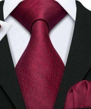 Pánska kravatová sada s gombíkmi a vreckovkou s bordovým vzorom