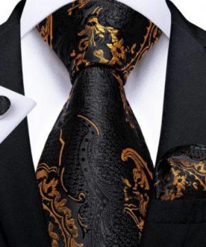 Pánska kravatová sada s gombíkmi a vreckovkou s čierno-zlatým vzorom