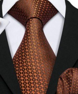 Pánska kravatová sada s gombíkmi a vreckovkou s medeným vzorom
