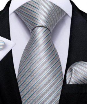 Pánska kravatová sada s gombíkmi a vreckovkou s modro-sivými pásikmi