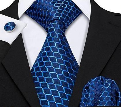 Pánska kravatová sada s gombíkmi a vreckovkou s modrým vzorom