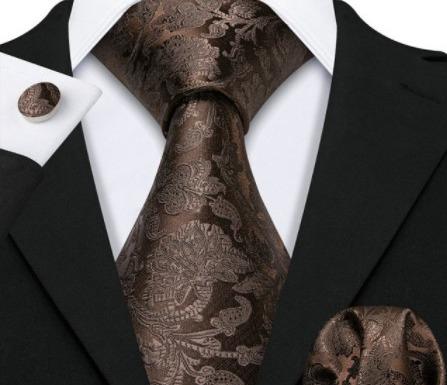 Pánska kravatová sada s gombíkmi a vreckovkou s tmavo-hnedým vzorom