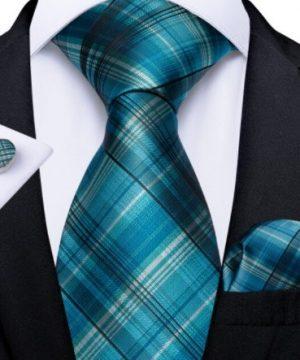 Pánska kravatová sada s gombíkmi a vreckovkou s tyrkysovým vzorom
