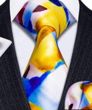 Pánska kravatová sada s gombíkmi a vreckovkou s viac farebným motívom