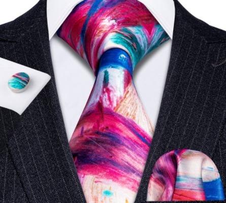 Pánska kravatová sada s gombíkmi a vreckovkou s viac farebným vzorom