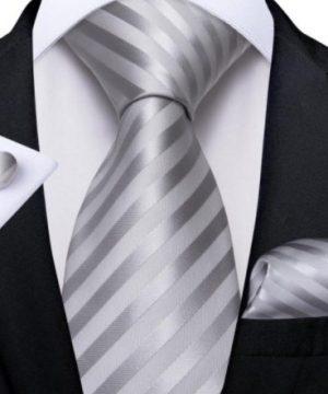 Pánska kravatová sada s gombíkmi a vreckovkou so sivými pásikmi