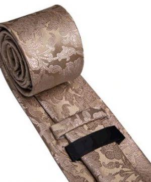 Pánska kravatová sada s gombíkmi a vreckovkou so svetlo-hnedým vzorom