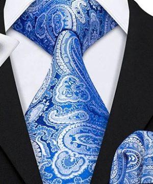 Pánska kravatová sada s gombíkmi a vreckovkou so svetlo modrým vzorom
