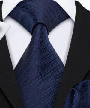 Pánska kravatová sada s gombíkmi a vreckovkou so tmavo modrým vzorom