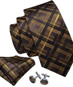 Pánska kravatová sada s gombíkmi a vreckovkou so zlato-čiernym vzorom