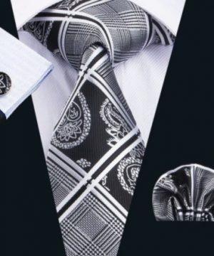 Pánsky kravatový set - kravata, manžety a vreckovka s bielo-čiernym vzorom