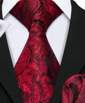 Pánsky kravatový set - kravata, manžety a vreckovka s bordovým vzorom