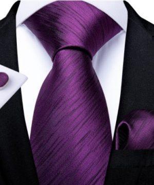 Pánsky kravatový set - kravata, manžety a vreckovka s fialovým vzorom