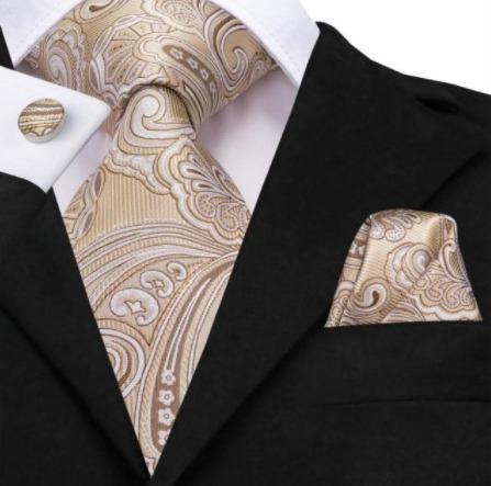 Pánsky kravatový set - kravata, manžety a vreckovka s krémovo-hnedou štruktúrou