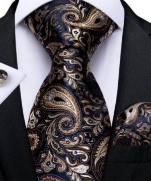 Pánsky kravatový set - kravata, manžety a vreckovka s luxusným vzorom