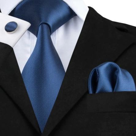 Pánsky kravatový set - kravata, manžety a vreckovka s modrou štruktúrou