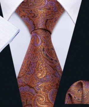 Pánsky kravatový set - kravata, manžety a vreckovka s orientálnym vzorom