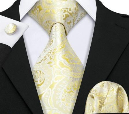 Pánsky kravatový set - kravata, manžety a vreckovka so zlatým vzorom