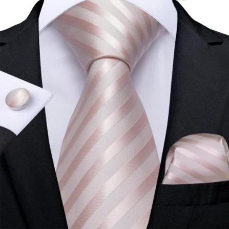 Pánsky kravatový set - kravata, manžety a vreckovka v staro-ružovej farbe