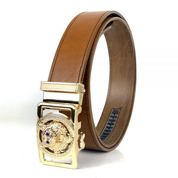 Pánsky kožený opasok s automatickou prackou GOLD WOLF - LIMITED EDITION