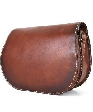 Lovecká kožená taška ručne tieňovaná s vyťahovacím zámkom, Cigaro farba - skrytý magnet