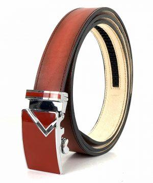 Pánsky červený kožený opasok s automatickou prackou LIMITED