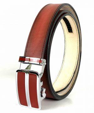 Pánsky červený kožený opasok s automatickou prackou RED_2 - LIMITED EDITION