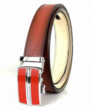 Pánsky červený kožený opasok s automatickou prackou RED_3 - LIMITED EDITION