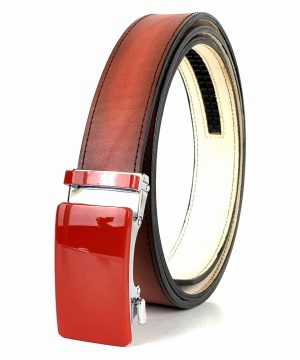 Pánsky červený kožený opasok s automatickou prackou RED_4 - LIMITED EDITION