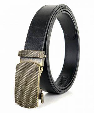 Pánsky kožený opasok s automatickou prackou OLD BRASS, 3cm, čierna farba