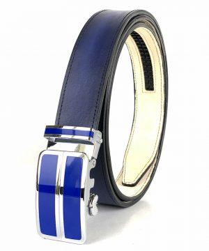 Pánsky modrý kožený opasok s automatickou prackou BLUE_2 - LIMITED EDITION