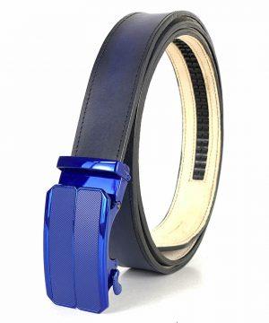 Pánsky modrý kožený opasok s automatickou prackou BLUE_3 - LIMITED EDITION