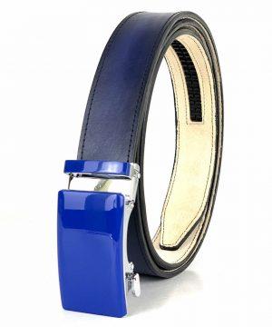 Pánsky modrý kožený opasok s automatickou prackou BLUE_4 - LIMITED EDITION