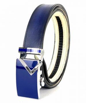 Pánsky modrý kožený opasok s automatickou prackou BLUE_1 - LIMITED EDITION